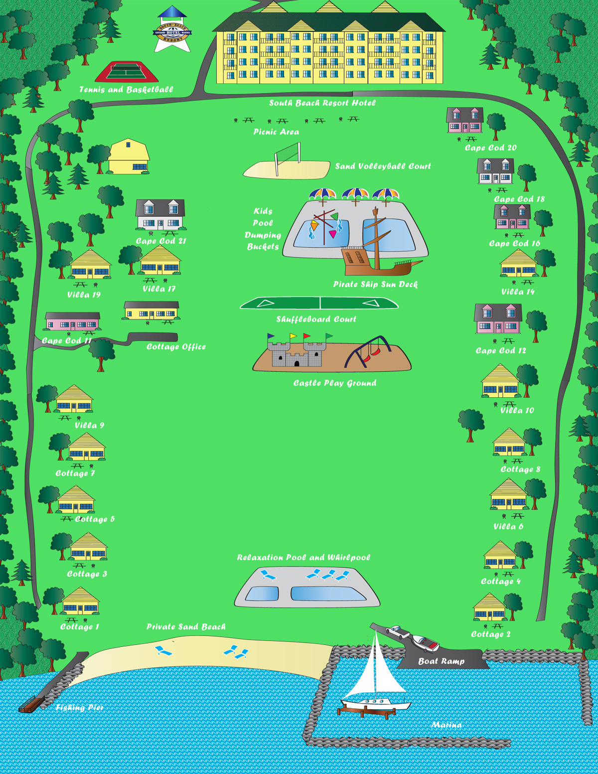 resort map. south beach resort is ideal for family vacations and romantic
